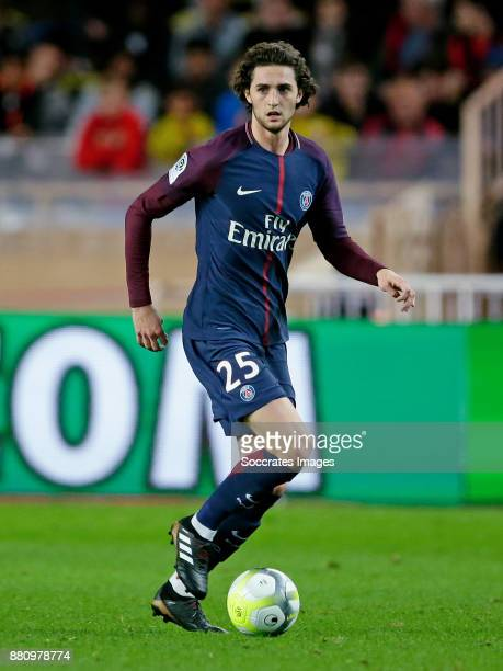 Adrien Rabiot of Paris Saint Germain during the French League 1 match between AS Monaco v Paris Saint Germain at the Stade Louis II on November 26...