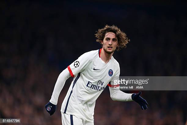 Adrien Rabiot of Paris Saint Germain during the UEFA Champions League match between Chelsea and Paris SaintGermain at Stamford Bridge on March 9 2016...