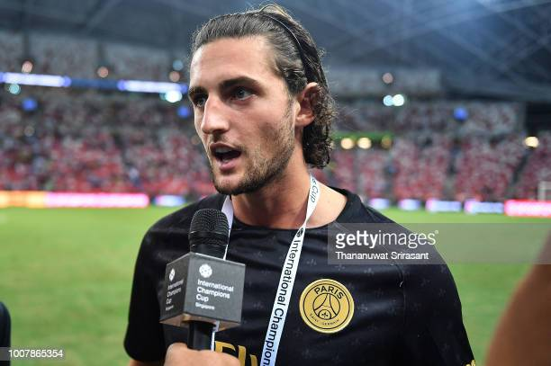 Adrien Rabiot of Paris Saint Germain interviews during the International Champions Cup match between Paris Saint Germain and Clu b de Atletico Madrid...