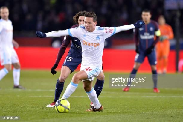 Adrien Rabiot of Paris SaintGermain and Florian Thauvin of Olympique de Marseille fight for the ball during the Ligue 1 match between Paris Saint...