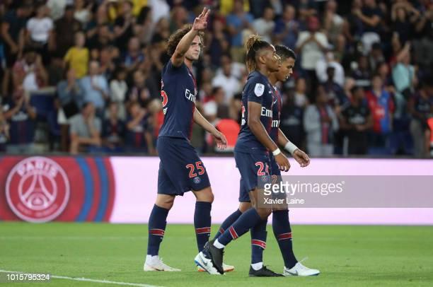 Adrien Rabiot of Paris SaintGermain celebrate his goal during the Ligue 1 match between Paris Saint Germain and SM Caen at Parc des Princes on August...