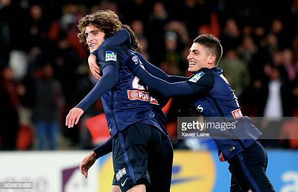 Adrien Rabiot of Paris Saint-Germain celebrate his goal with Marco Verratti during the French Ligue Cup between Paris Saint-Germain and Olympic...