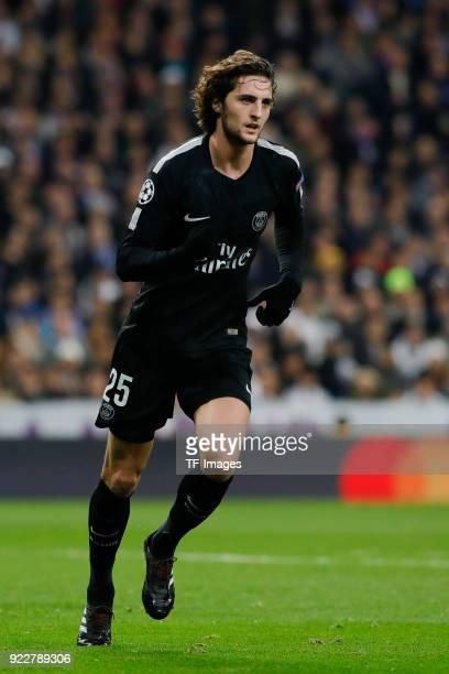 Adrien Rabiot of Paris SaintGermain celebrates after scoring his team`s first goal during the UEFA Champions League Round of 16 First Leg match...