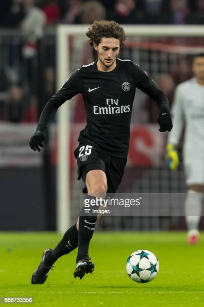 Adrien Rabiot of Paris SaintGermain controls the ball during the UEFA Champions League group B match between Bayern Muenchen and Paris SaintGermain...