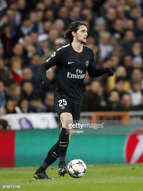 Adrien Rabiot of Paris SaintGermain during the UEFA Champions League round of 16 match between Real Madrid and Paris SaintGermain at the Santiago...