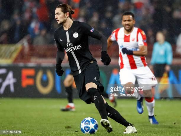 Adrien Rabiot of Paris SaintGermain in action during the UEFA Champions League Group C match between Red Star Belgrade and Paris SaintGermain at...