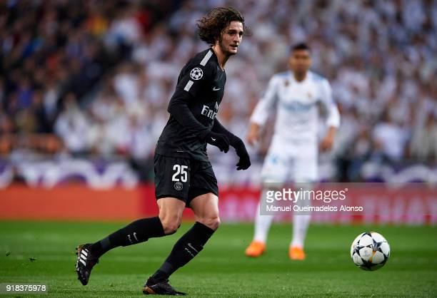 Adrien Rabiot of Paris SaintGermain in action during the UEFA Champions League Round of 16 First Leg match between Real Madrid and Paris SaintGermain...