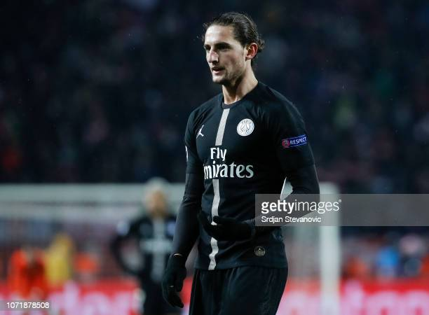 Adrien Rabiot of Paris Saint-Germain looks on during the UEFA Champions League Group C match between Red Star Belgrade and Paris Saint-Germain at...