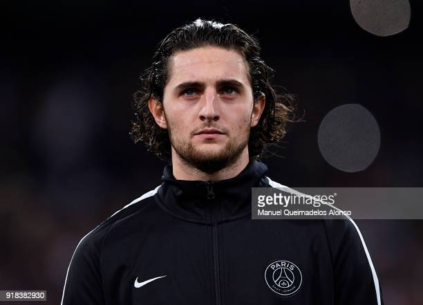 Adrien Rabiot of Paris SaintGermain looks on prior to the UEFA Champions League Round of 16 First Leg match between Real Madrid and Paris...