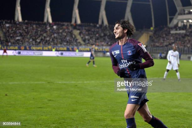 Adrien Rabiot of Paris SaintGermain reacts after scoring during the League cup match between Amiens and Paris Saint Germain at Stade de la Licorne on...