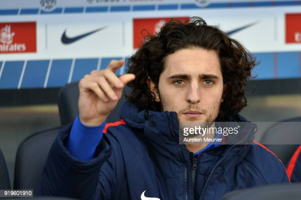 Adrien Rabiot of Paris SaintGermain reacts as he sits on the bench during the Ligue 1 match between Paris saintGermain and Strasbourg at Parc des...