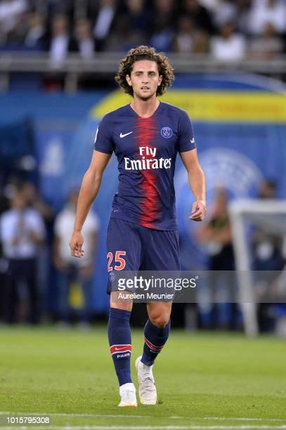 Adrien Rabiot of Paris SaintGermain reacts during the Ligue 1 match between Paris SaintGermain and SM Caen at Parc des Princes on August 12 2018 in...