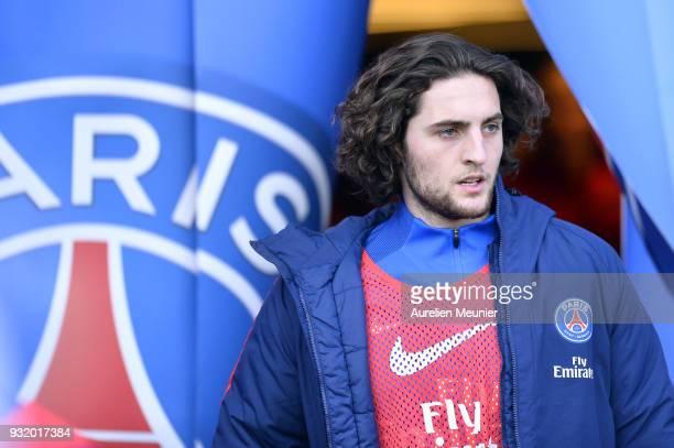 Adrien Rabiot of Paris SaintGermain reacts during warmup before the Ligue 1 match between Paris Saint Germain and Angers SCO at Parc des Princes on...