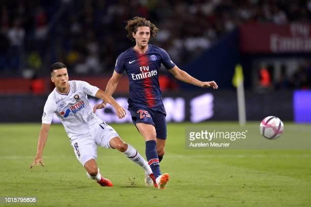 Adrien Rabiot of Paris SaintGermain runs with ball during the Ligue 1 match between Paris SaintGermain and SM Caen at Parc des Princes on August 12...