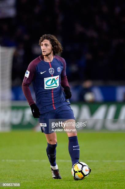 Adrien Rabiot of Paris SaintGermain runs with the ball during the French National Cup match between Paris Saint Germain and Dijon FCO at Parc des...