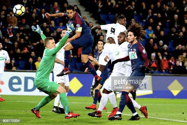Adrien Rabiot of Paris SaintGermain scores a goal during the French National Cup match between Paris Saint Germain and EA Guingamp at Parc des...