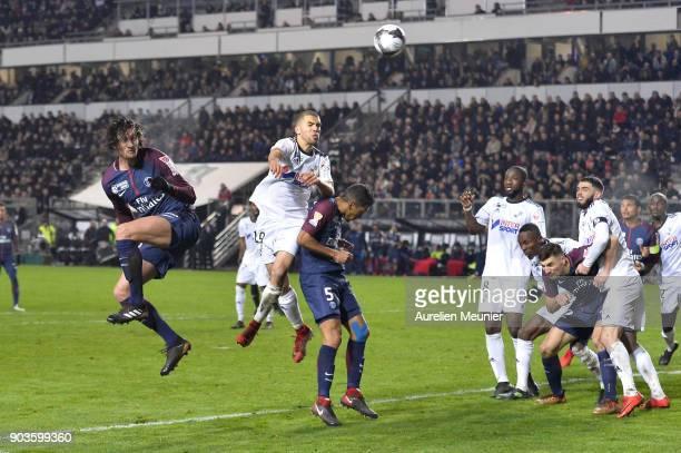 Adrien Rabiot of Paris SaintGermain scores during the League cup match between Amiens and Paris Saint Germain at Stade de la Licorne on January 10...