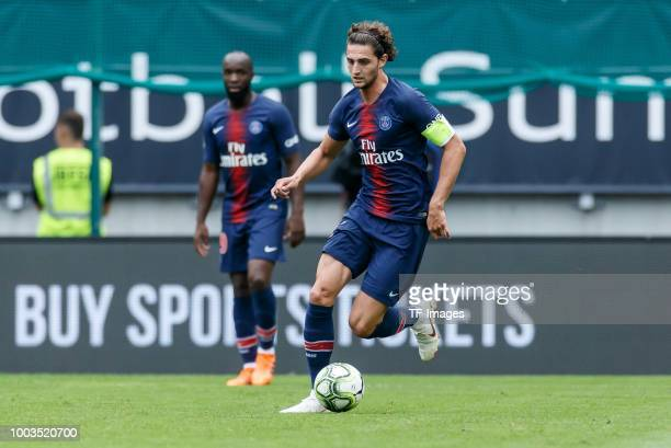 Adrien Rabiot of Paris St Germain controls the ball during the Friendly match between Bayern Muenchen and Paris St Germain at Woerthersee Stadion on...