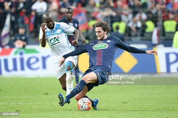 Adrien Rabiot of PSG and Lassana Diarra of Marseille during the French Cup Final between Paris Saint Germain and Marseille at Stade de France on May...