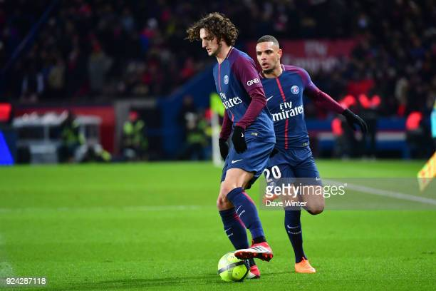 Adrien Rabiot of PSG and Layvin Kurzawa of PSG during the Ligue 1 match between Paris Saint Germain and Olympique Marseille at Parc des Princes on...