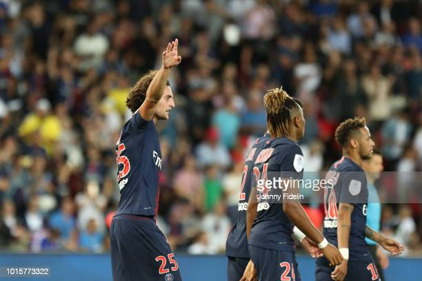 Adrien Rabiot of PSG celebrate the second goal during the French Ligue 1 match between Paris Saint Germain and Caen at Parc des Princes on August 12...
