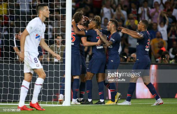 Adrien Rabiot of PSG celebrates his goal with Christopher Nkunku Neymar Jr Antoine Bernede during the french Ligue 1 match between Paris SaintGermain...