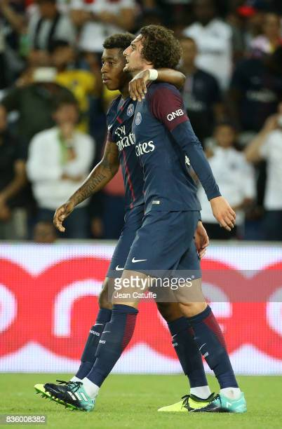Adrien Rabiot of PSG celebrates his goal with Presnel Kimpembe during the French Ligue 1 match between Paris Saint Germain and Toulouse FC at Parc...