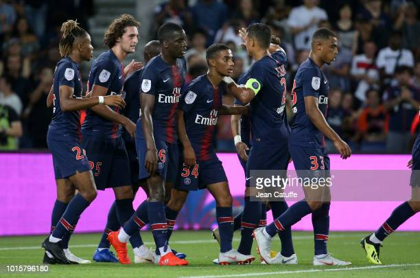 Adrien Rabiot of PSG celebrates his goal with teammates during the french Ligue 1 match between Paris SaintGermain and Stade Malherbe Caen at Parc...