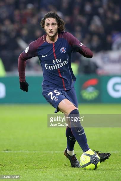 Adrien Rabiot of PSG during the French Ligue 1 match between Olympique Lyonnais and Paris Saint Germain at Groupama Stadium on January 21 2018 in...
