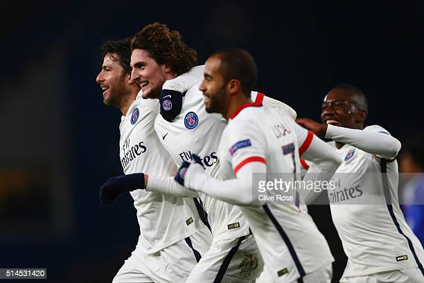 Adrien Rabiot of PSG is congratulated by teammates after scoring the opening goal during the UEFA Champions League round of 16, second leg match...