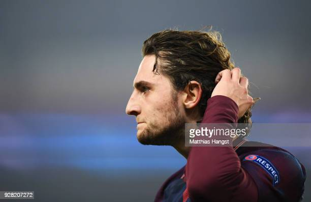 Adrien Rabiot of PSG looks dejected in defeat after the UEFA Champions League Round of 16 Second Leg match between Paris Saint-Germain and Real...
