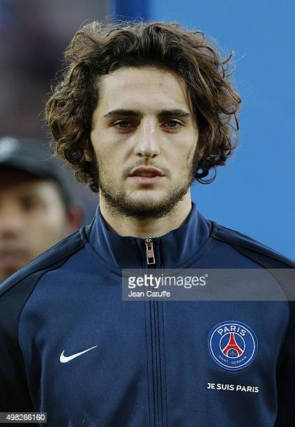 Adrien Rabiot of PSG looks on before the French Ligue 1 match between FC Lorient and Paris SaintGermain at Stade du Moustoir on November 21 2015 in...