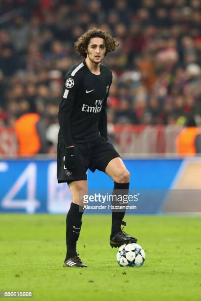 Adrien Rabiot of PSG Paris runs with the ball during the UEFA Champions League group B match between Bayern Muenchen and Paris SaintGermain at...