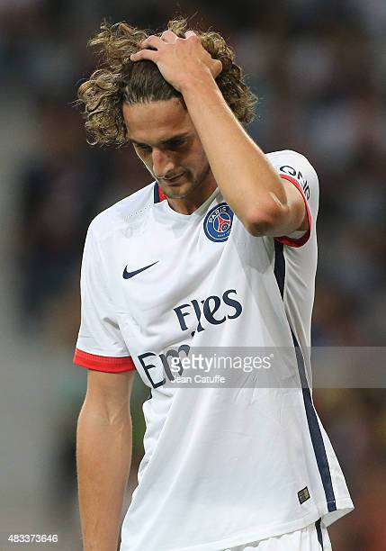 Adrien Rabiot of PSG reacts after receiving a red card during the French Ligue 1 match between Lille OSC and Paris SaintGermain at Grand Stade Pierre...