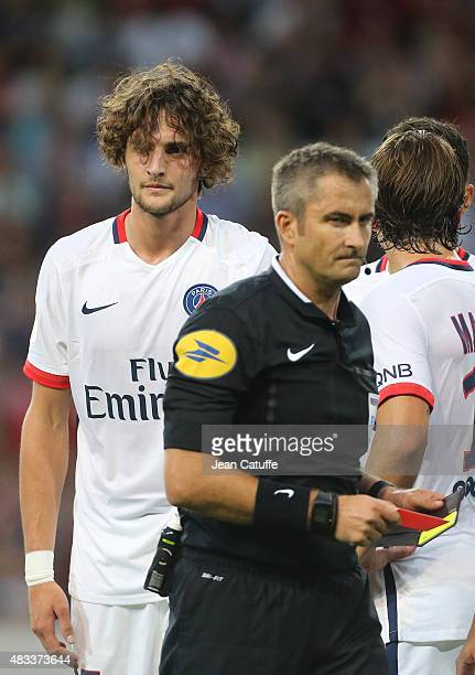 Adrien Rabiot of PSG receives a red card from referee Fredy Fautrel during the French Ligue 1 match between Lille OSC and Paris SaintGermain at Grand...