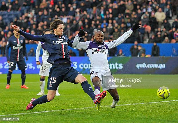 Adrien Rabiot of PSG scores his second goal during the French Ligue 1 match between Paris Saint-Germain FC and Toulouse Football Club at Parc des...