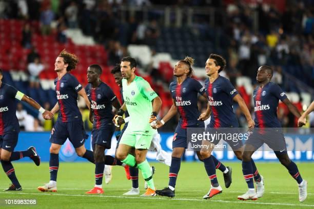 Adrien Rabiot Stanley N'Soki Timothy Wea Gianluigi Buffon Christopher Nkunku Marquinhos and Moussa Diaby of PSG during the French Ligue 1 match...