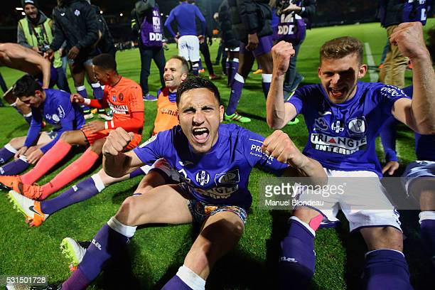 Adrien Regattin of Toulouse celebrates after the football french Ligue 1 match between Angers SCO and Toulouse FC on May 14 2016 in Angers France