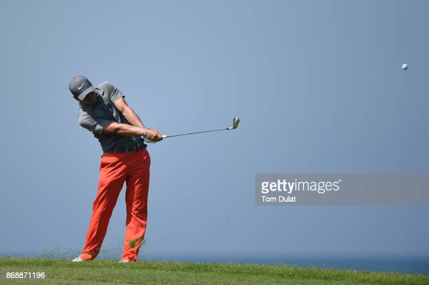 Adrien Saddier of France hits an approach shot on the 9th hole during day one of the NBO Golf Classic Grand Final at Al Mouj Golf on November 1 2017...