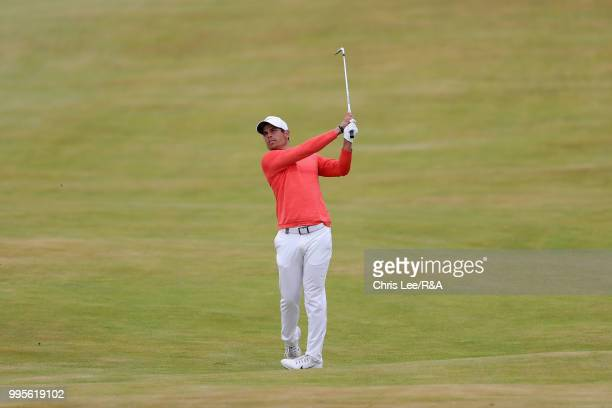 Adrien Saddier of France in action during the The Open Qualifying Series Dubai Duty Free Irish Open at Ballyliffin Golf Club on July 8 2018 in Donegal