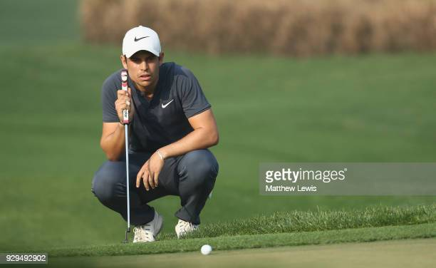 Adrien Saddier of France lines up a putt on the 11th green during day two of the Hero Indian Open at Dlf Golf and Country Club on March 9 2018 in New...