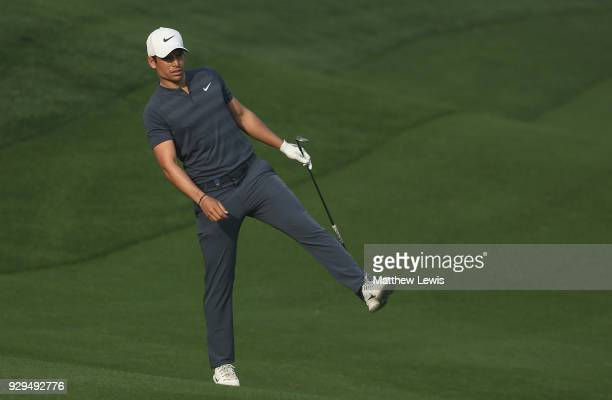 Adrien Saddier of France looks on during day two of the Hero Indian Open at Dlf Golf and Country Club on March 9 2018 in New Delhi India