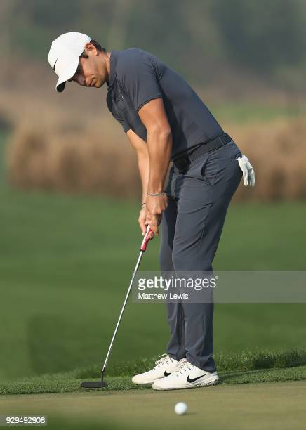 Adrien Saddier of France makes a putt on the 11th green during day two of the Hero Indian Open at Dlf Golf and Country Club on March 9 2018 in New...
