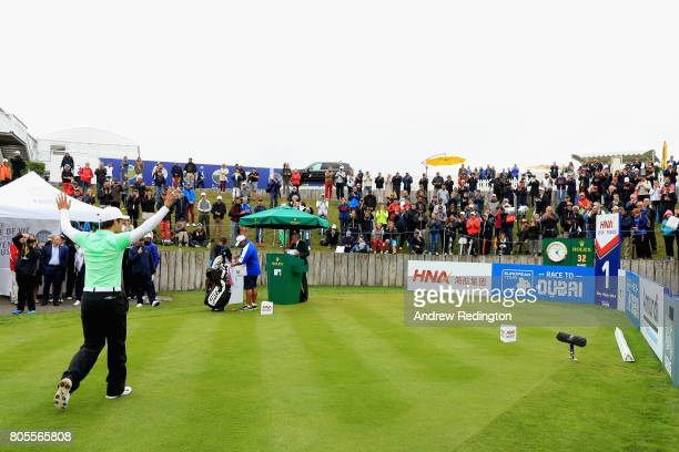 Adrien Saddier of France makes his way to the 1st tee during day four of the HNA Open de France at Le Golf National on July 2 2017 in Paris France