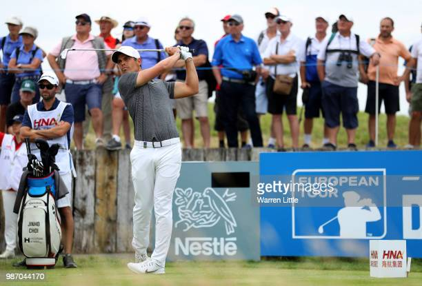 Adrien Saddier of France on the 10th tee during the second round of the HNA Open de France at Le Golf National on June 29 2018 in Paris France