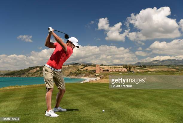 Adrien Saddier of France plays a shot during practice prior to the start of The Rocco Forte Open at the Verdura golf resort on May 8 2018 in Sciacca...