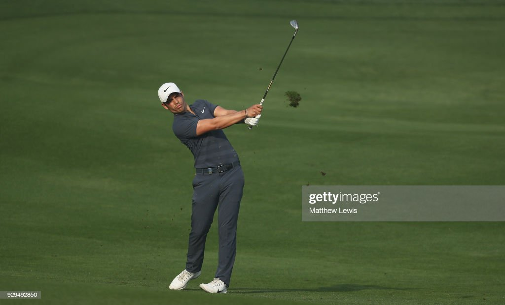 Adrien Saddier of France plays a shot from the 11th fairway during day two of the Hero Indian Open at Dlf Golf and Country Club on March 9, 2018 in New Delhi, India.