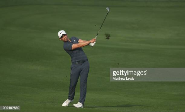 Adrien Saddier of France plays a shot from the 11th fairway during day two of the Hero Indian Open at Dlf Golf and Country Club on March 9 2018 in...