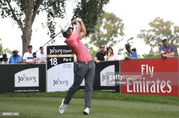 Adrien Saddier of France plays a shot on the 18th hole during the third day of the Joburg Open at Randpark Golf Club on December 9 2017 in...