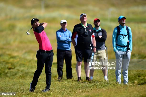 Adrien Saddier of France plays his second shot on the 16th hole during day one of the Dubai Duty Free Irish Open at Ballyliffin Golf Club on July 5...